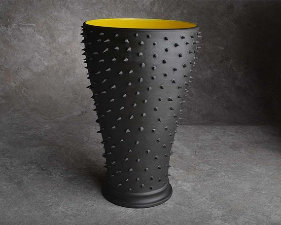 Dangerously Spiky Vase with Yellow Inside by Symmetrical Pottery
