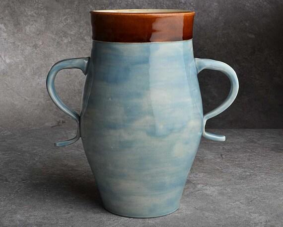Blue Attitude Vase by Symmetrical Pottery