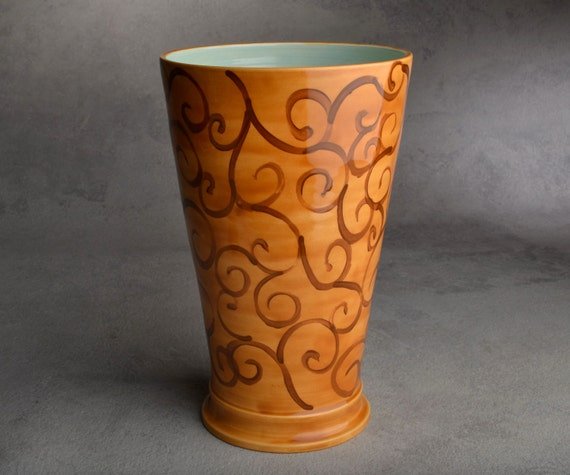 Vase Ready To Ship Wheel Thrown Brown Swirl Vase by Symmetrical Pottery
