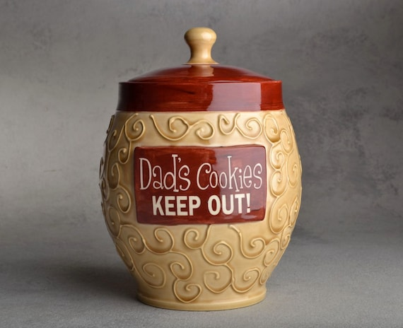 "Treat Jar Made To Order ""Dad's Cookies"" Lidded Jar by Symmetrical Pottery"