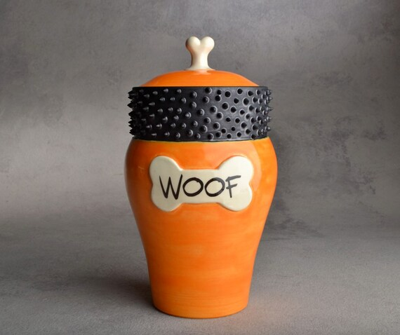 """Dog Treat Jar: """"Woof"""" Orange and Black Spiky Collared Treat Jar by Symmetrical Pottery MADE TO ORDER"""