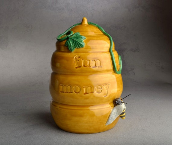 BeeHive Coin Bank: Fun Money Stamped Beehive Coin Bank by Symmetrical Pottery