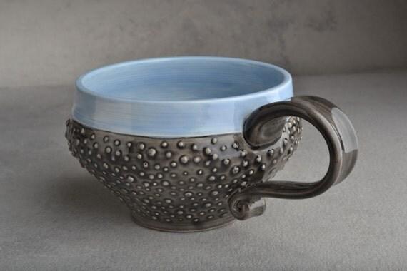 Dottie Mug: Clear Black and Light Blue Dottie Soup Cocoa Mug