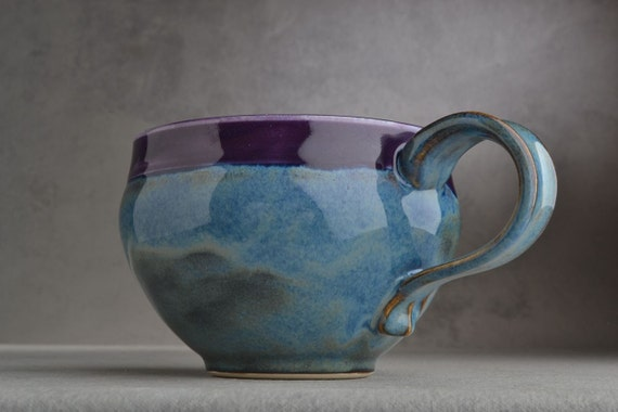 Mug: Blue Purple Stoneware Mug by Symmetrical Pottery