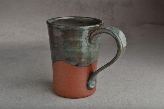 Red Clay Mug: Dark Green and Black Drippy Glaze Mug by Symmetrical Pottery