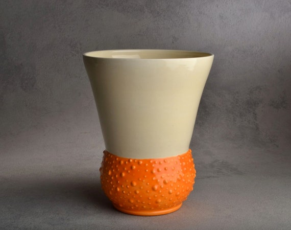 Dottie Vase: Orange Dottie Vase by Symmetrical Pottery