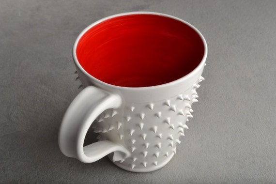 Spiky Mug Made To Order White and Red Dangerously Spiky Mug by Symmetrical Pottery