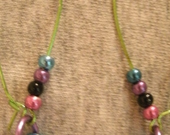 Multi Color Blue Pink Green Black Purple Bead Metallic Bead Pierced Earrings Green Ear Wires