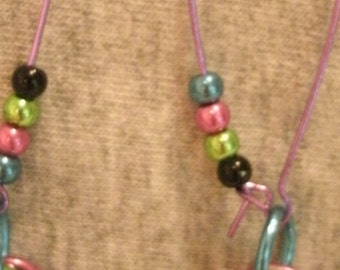 Multi Color Metallic Bead Pierced Earrings Purple Ear Wires