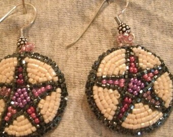 Pink Purple Cream and Black Multi Color Pentagram Hand Bead Embroidered Dangle Earrings