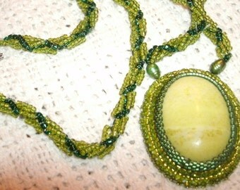 Peridot Jasper Cabashon and Spiral Rope Necklace