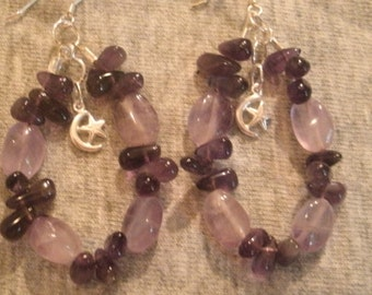 Amethyst and Sterling Silver Moon and Star Charm Dangle Earrings