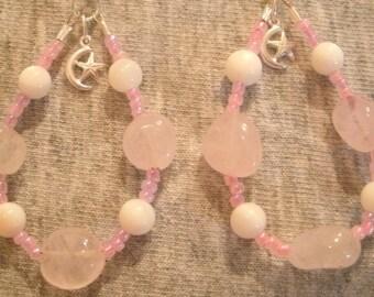 Rose Quartz and Sterling Silver Dangle Earrings