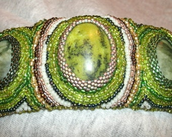 Green Multi Color Hand Seed Bead Embroidered and Cabashon Serpentine Cuff Bracelet
