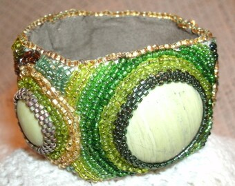 Light Green Serpentine Multi Color Hand Embroidered Beaded Cuff Bracelet