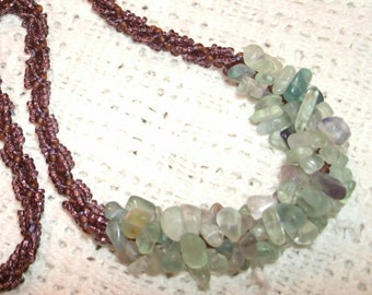 Rainbow Fluorite Chip and Spiral Seed Bead Hand Beaded Necklace Boho Chic
