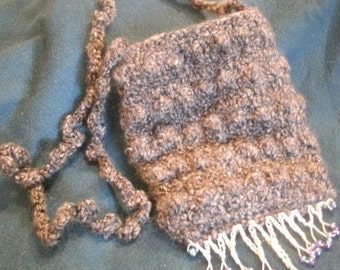 Gray Hand Crocheted Bead Fringe Boho Hippie Purse Bag Fully Lined
