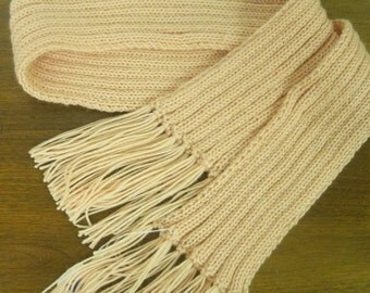 Pale Peach Soft and Thick Hand Knit Ribbed Long Scarf