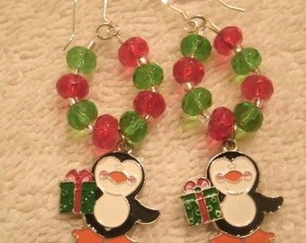 Penguin Enameled Charm Red and Green Crystal Bead Holiday Earrings 04