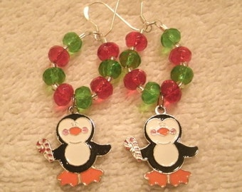 Penguin Enameled Charm Red and Green Holiday Dangle Earrings 05