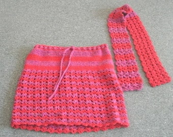 Red and Mauve Bright Hand Crocheted Skirt and Matching Scarf Set