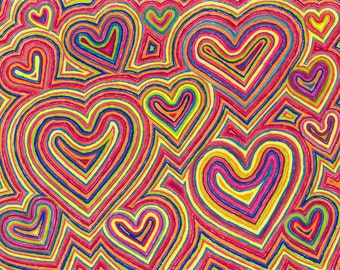 Hearts Art 1 LOVE Heart Color Pencil Fine Art Matted Print