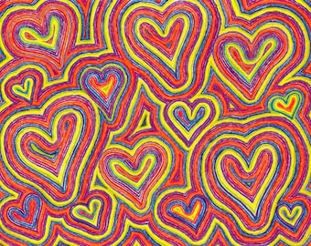 Hearts Art 2 LOVE Heart Color Pencil Fine Art Matted Print