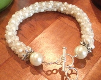 White Wedding Bead Crochet Bracelet or Anklet Large or Extra Large