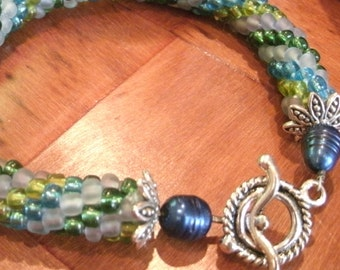 Blue, Green, Lavender Multi Color Hand Bead Crochet and Fresh Water Pearl Bangle Bracelet