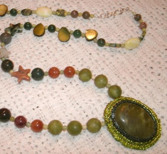 Green Serpentine and Jasper Necklace