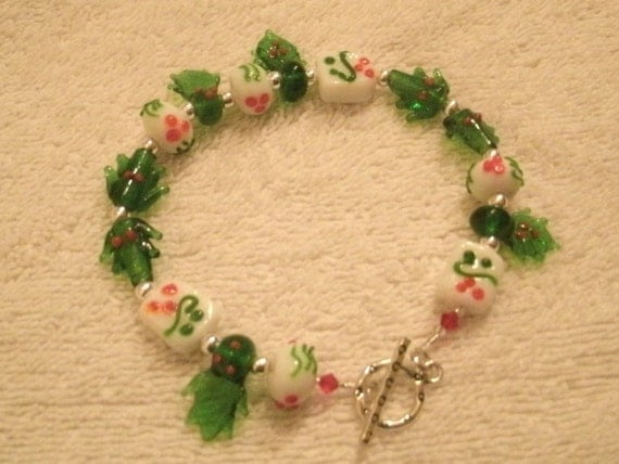 Holly Green and Red Glass Bead and Crystal  Lamp-work Holiday Bracelet