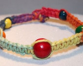 Rainbow Hemp Anklet Bracelet with Colorful Wooden Beads