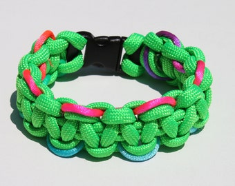 "Single Color Paracord Survival Strap Bracelet Anklet w/ Rattail Accents and 3/8"" Contoured Buckle"