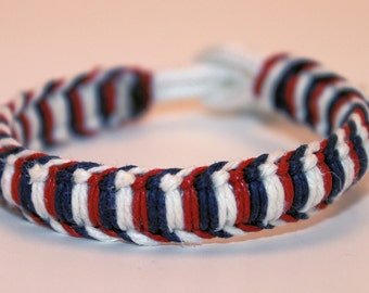 Independence Day Fourth of July Hemp Wrapped 550 Paracord Bracelet Anklet
