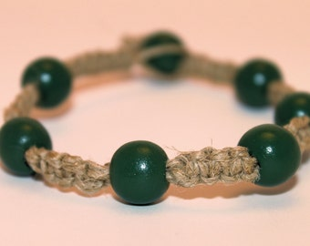 Hemp Bracelets with Wooden Beads