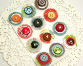 WOODLAND GREEN..Button Embellies // Embellishments... Eco-Friendly Cardstock
