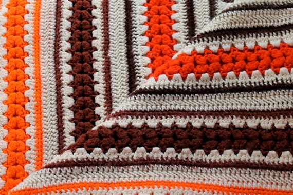 Electric Orange Afghan Throw