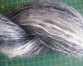 Hand dyed Mohair Yarn Black, White and Gray