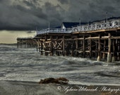 Landscape Photography beach photography Storm photography  Crystal Pier Pacific Ocean photography  grey wall art Fine Art Photography Print