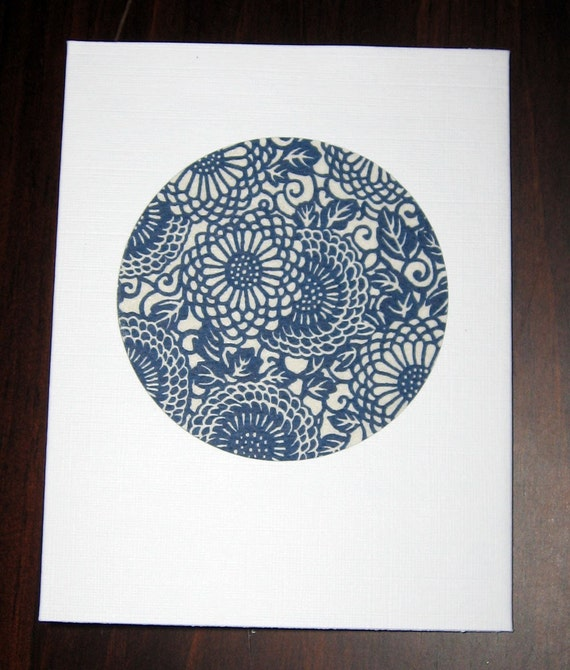 Navy blue and white circle of flowers card - elegant Japanese floral design
