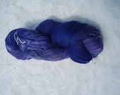 Hand dyed Rainbow of Yarn Blue Purple Sock weight