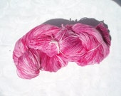 Hand dyed Rainbow of Yarn Floss pink weight