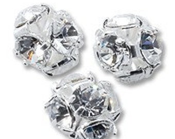 8 mm Swarovski silver rhinestone bead - Quantity 4
