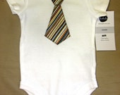 Brown Striped Tie Onesie