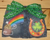 Girls Custom Boutique Handpainted St. Patrick's Day Jean Skirt. Size 2T