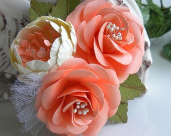 Corsages - Paper Flowers - Weddings - Bridal - Baby Shower - Salmon & Cream - Made To Order - Set of 6