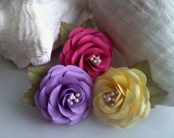Paper Flowers - Paper Embellishments - Roses - Scrapbook Embellishments - Handmade - Full Bloom - Playful Princess Collection