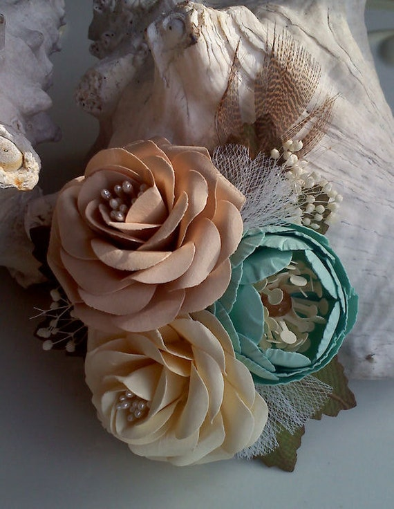 Wedding Corsages - Handmade Paper Flowers - Cream - Soft Teal - Champagne  - Made To Order  - Flower Cluster - Set 0f 6