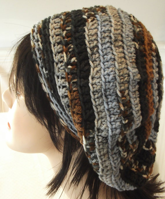 Blue Brown Grey Slouchy Beanie Beret Tam Handmande Crochet Hat