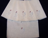 Vintage Rooster Napkins or Handkerchiefs - Hand Embroidered